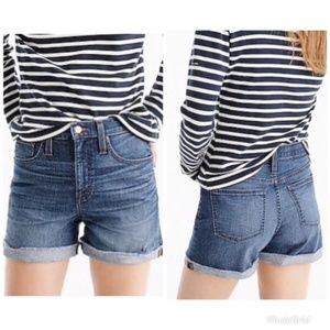 J.CREW HIGH WAIST DENIM FRAYED HEM SHORTS